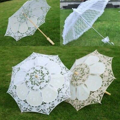 Wedding Parasol Umbrella Lace Cotton Embroidery Bridal Bridesmaid Accessory NEW