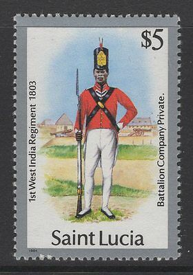 St.lucia Sg810 1985 Military Uniforms $5 Mnh