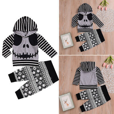 CA Toddler Baby Boy Girl Long Sleeve Halloween Hooded Tops+Pants Outfits Clothes