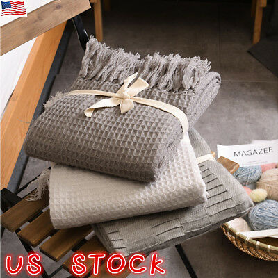 Waffle Weave Blanket Fringed Sofa Bed Cover Baby Soft Throw Cotton Rug Slipcover