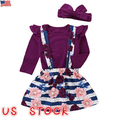 US Toddler Kid Baby Girl T-shirt Top+Straps Skirt Dress Princess Outfit Clothes