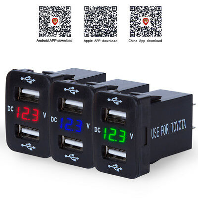 12V 4.2A  For Toyota Dual USB Ports Car Charger Socket Voltmeter Power Adapter
