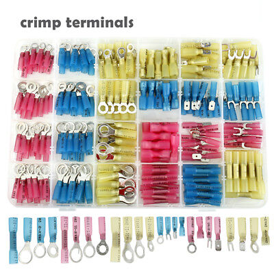 240pc Insulated Electrical Crimp Terminals Set Heat Shrink Connectors Wire Spade
