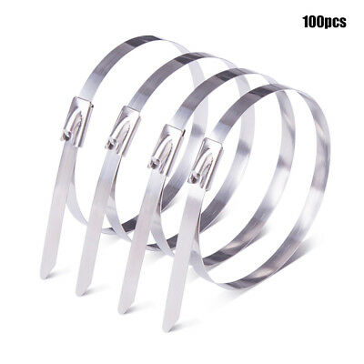 100x Stainless Steel Metal Cable Ties Zip Wrap Exhaust Heat Straps Marine Grade