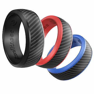 IKonfittness 3 Colors Silicone Ring Rubber Wedding Band Flexible Gifts Men Women