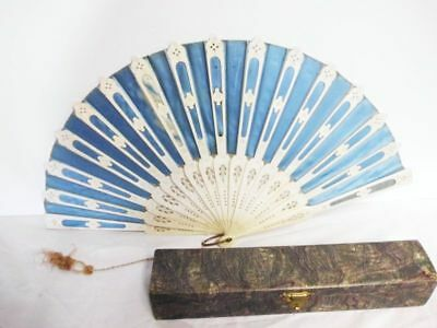Seidenfächer mit edler Struktur-19th century-silk fan-noble structure with box