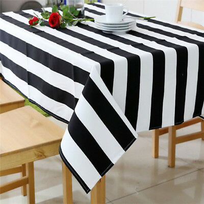 Black White Cabana Stripe Dine Oilcloth Vinyl Waterproof Tablecloth Z