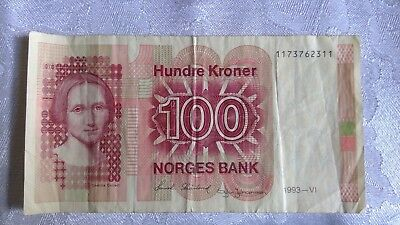 A Norges Bank 100 Kroner Bank Note from 1993