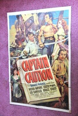 """Captain Caution""  original 1940 Movie poster with Victor Mature"