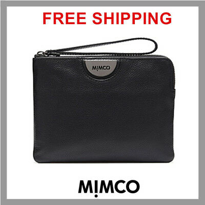 Free Post Mimco Echo Black Gunmetal Medium Pouch Wallet Cow Leather Rrp99.95 Df