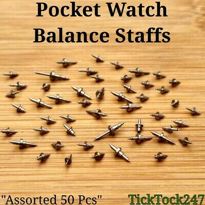 50x POCKET WATCH BALANCE STAFFS vintage spares/parts mixed lot watchmaker repair