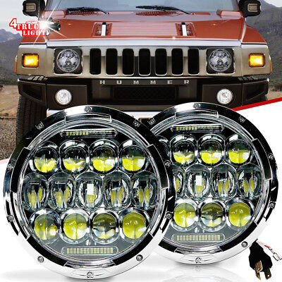 7 Inch Chrome LED Headlights Hi/Low Beam Driving DRL Lamps Hummer H2 02-10
