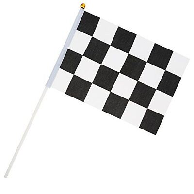 24 Stück Zielflagge 8 x 5, 3 Zoll Racing Polyester Flags mit Kunststoff-Stick