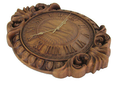 3D relief antique style wooden wall clock. Carved wood