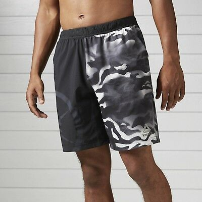 db19a406f597 REEBOK MENS CAMO Speedwick Speed Shorts Black - £14.99