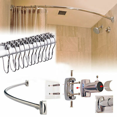 S/s Steel Extensible Curved Oval Shower Curtain Rod Rail & 12 Free Rings Hooks