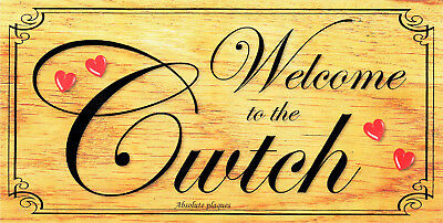 Handmade Plaques Shabby Chic Funny Wooden Sign Gift Present Welcome To The Cwtch