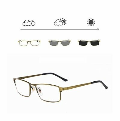 Mens Transition Photochromic Reading Glasses Business Readers Metal +1.0 to +4.0