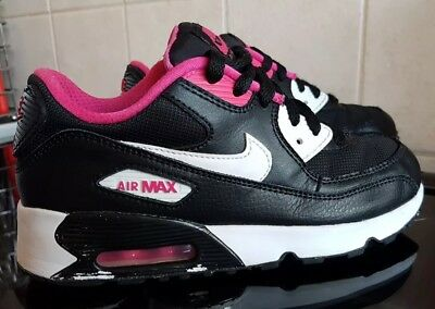 online retailer 9e5f7 ee660 Girls Nike Air Max 90 Trainers - Black  Pink  White - Size UK 2