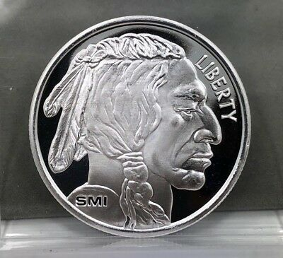 SMI Sunshine Mint Indian Head / Buffalo Silver Round 1 oz .999 Fine Silver Round