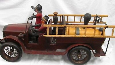 "Large Fire Truck Vintage Toy Wood & Metal With 2 Men  29"" Long Heavy!  Lot #2556"