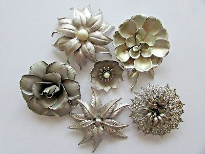 Vintage Brooch~Pin Lot Flower Power Judy Lee Silver Tone Gorgeous Lot Stunning
