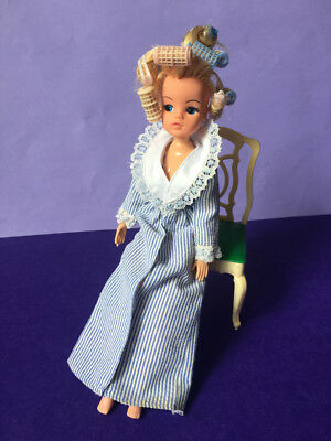 REDUCED Vintage Sindy doll '83 Night Time dressing gown 80s pale blue SHIMMYSHIM