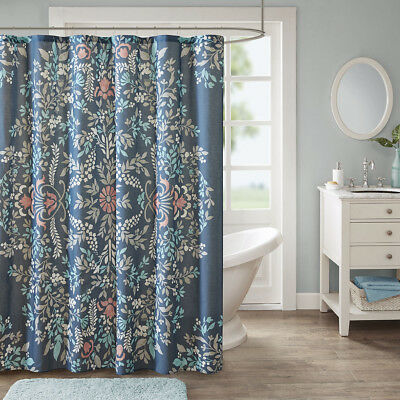 Modern Country Floral Paisley Botanical Navy Blue Cotton Fabric Shower Curtain
