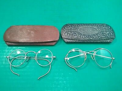0c6c601518e Lot of 2 Vintage Antique Old Glasses Eyeglasses Spectacles Wire Frame With  Case