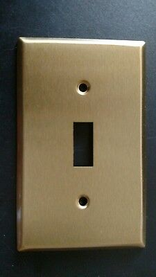 Set of 8 Satin Brass Single gang Light Switch Wall Toggle Wallplate Cover plate