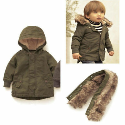 New Toddler Baby Kid Boy's Army Coat Jacket Outerwear Winter Fall Clothes 0-5Y