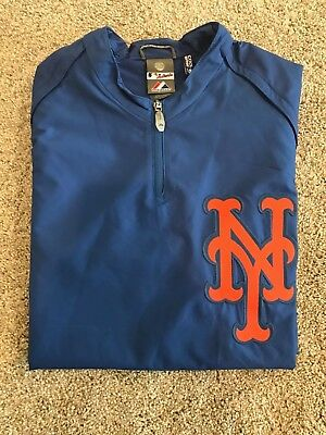 New York Mets Authentic On Field Majestic Athletic Convertible Pullover Mens Med