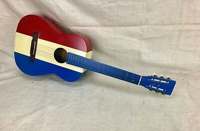 Vintage 1960's Harmony Red White & Blue Nylon String Acoustic Guitar Buck Owens