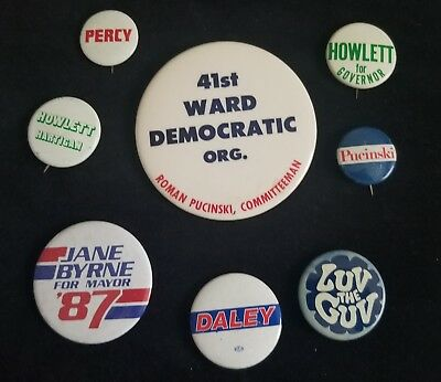 Chicago Political Pinback Button Lot 41st Ward Pucinski, Daley, Thompson, Percy