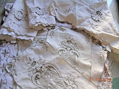 Large lot old Antique Italian EMBROIDERY CUTWORK DOILIES & RUNNERS ITALY