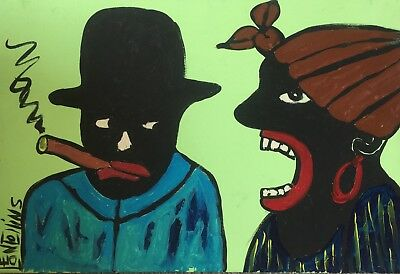"""African American Folk Art ORIGINAL Painting by Leon Collins-""""The Nag,"""" 2017"""