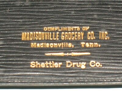 rare old ~ LEATHER WALLET ADVERTISING, MADINSOVILLE TN - GROCERY CO. & SHETTLER