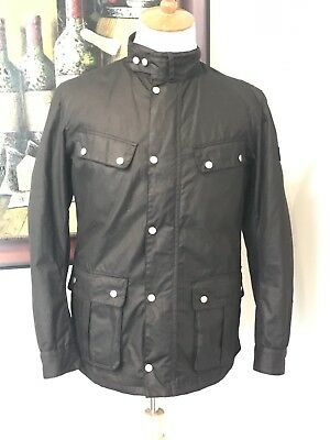 "Barbour International ""duke"" Black Waxed Cotton Moto Jacket Medium Enfield"