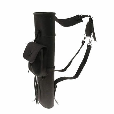 PU Leather Quiver for Archery Bow and Arrow Support Bag Black M9N5