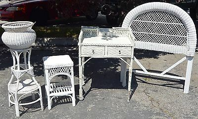 Antique White Wicker Bedroom Set Twin Headboard/Nightstand/Vanity & Plant Stand