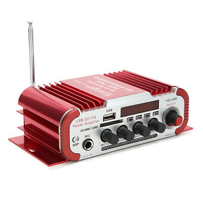 Kentiger HY600 12V Red Car and Motorcycle Dual Channel Universal Amplifier with