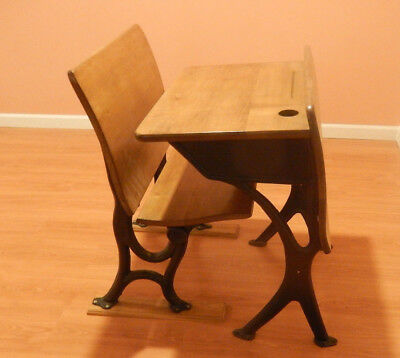 Vintage T. Kundtz Cleve O Child School Desk, Bench, Iron, Ink Well & Pencil Tray
