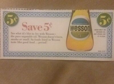 Vintage 1967 Wesson Vegetable Oil grocery coupon