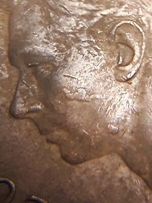 ERROR COIN 1952 Extra Metal on King's Face GEORGE VI Canada 1 Cent Coin A56