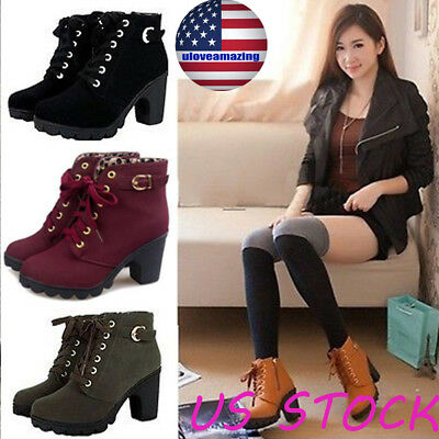 Women Ladies High Heel Lace Up Buckle Ankle Boots Casual Zip Platform Shoes Size