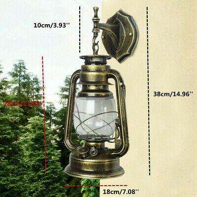 Antique Exterior Wall Light Fixture Bronze Glass Lantern Outdoor Garden Lamp E27