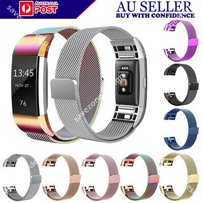 AU Magnetic Milanese Stainless Steel Watch Band Strap Unisex For Fitbit Charge 2