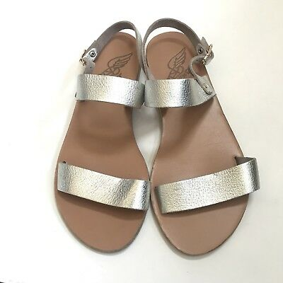 b0272880708  225 ANCIENT GREEK Clio Silver Leather Sandals Sz 37 Pre-Owned -  98.00