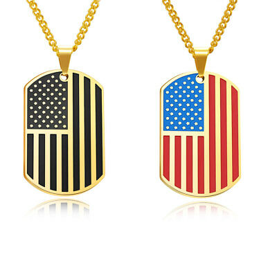 """Men Women Gold Blue Stainless Steel Dog Tag USA Flag Pendant Necklace Chain 24"""""""