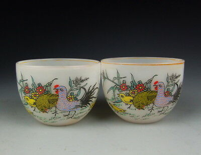 Pair Of China Antiques Liu-Li Glass Wine Cups With Colored Bird